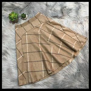 Zara Wool Plaid A Line Skirt